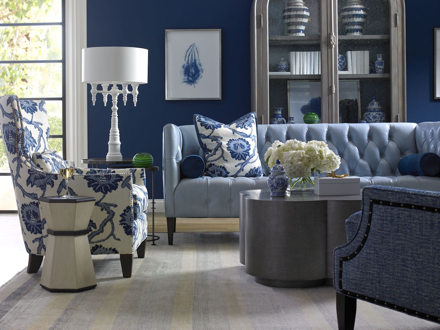 Blue hues invite summer relaxation.